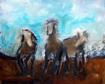Horse Dream Original Oil Painting Wild Horses Southwest Art