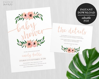 Printable Floral Baby Shower Invitation | Editable Template | Pink and Pastel Floral Invitation | Flowers | Baby Shower | Party | Wreath