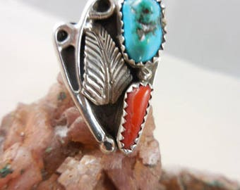 Native American Turquoise Coral Sterling Ring