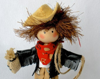 Cowgirl Art Doll, Clothespin Doll, Peg Doll, Barn Girl Doll, Horse Woman Art Doll, Pegtales Annie Oatley