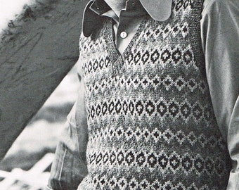 "Vintage Men's Knitting Pattern for a Shetland Style Sweater Vest - PDF Download - 70's retro 1970""s"