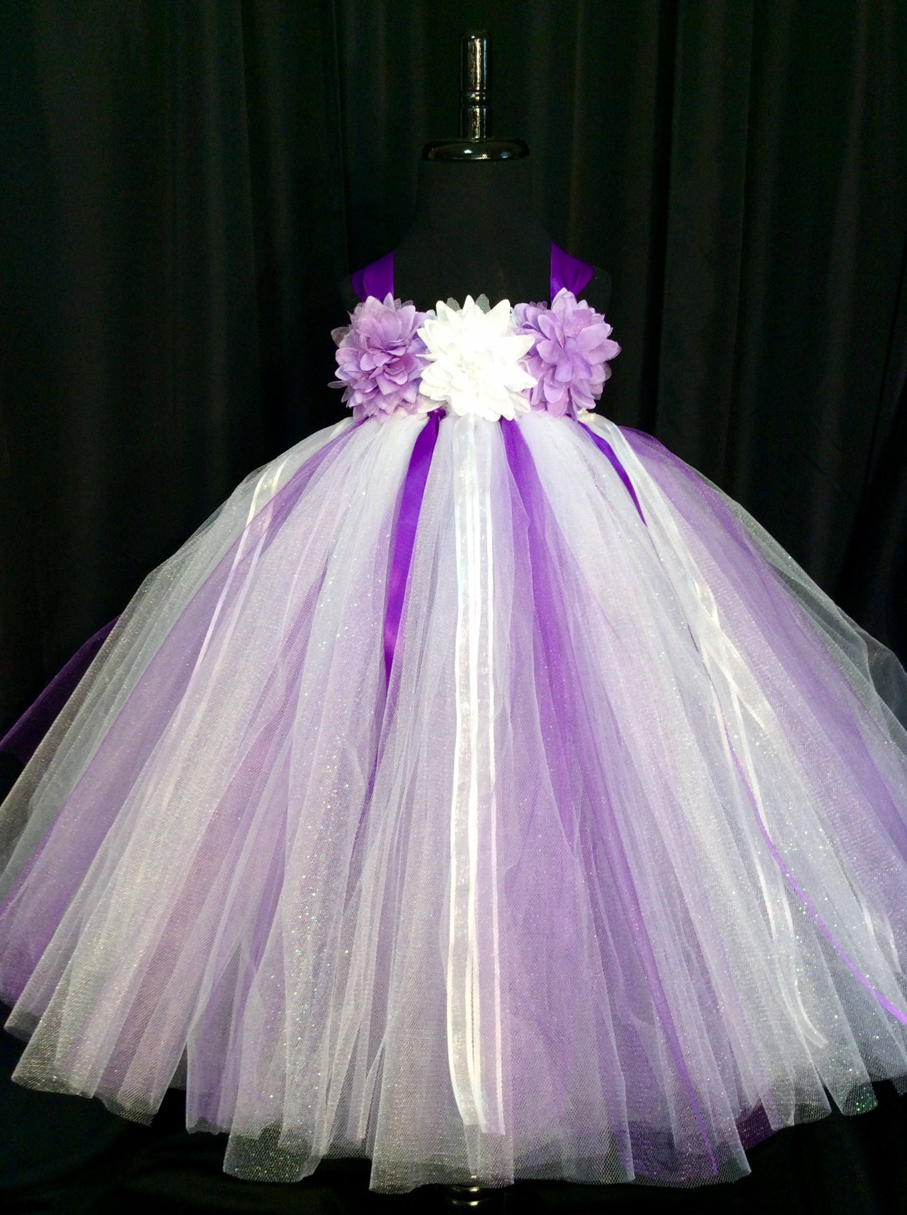 White And Purple Flower Girl Dress Tulle Flower Girl Dress Tutu