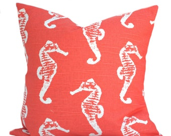 One seahorse coral nautical pillow covers, cushion, decorative throw pillow, decorative pillow, accent pillow, pillow case