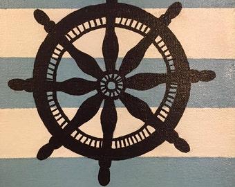 Nautical ship's wheel 8x10