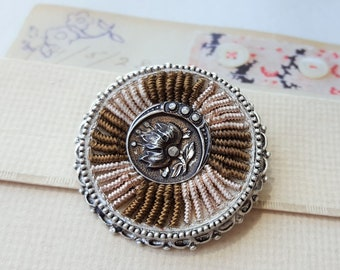 Antique Button BROOCH Textile Jewelry Accessories, Jacket Pin Scarf, Fiber Jewelry, Wearable Art Button Brooch veryDonna