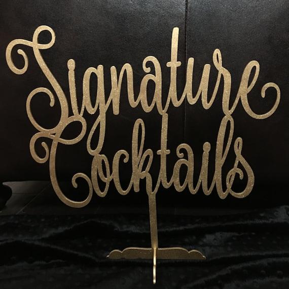 Signature Cocktails Sign, Drinks Sign, Bar Sign, Wedding Sign, Gold Wedding Decor, Rose Gold Decor, Silver Wedding Decor, Rose Gold Wedding