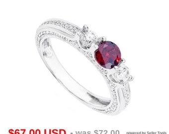 3 Stone Garnet Engagement Ring Garnet Promise Ring for Her Stacking Wedding Ring January Birthstone Ring Antique Ring Gemstone Ring CZ Ring