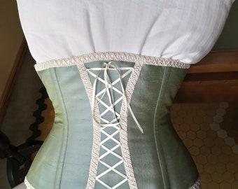 Bohemian wedding light blue silk underbust corset with ivory lace - Vintage wedding corset - Boho chic bride - Modern bridal dress