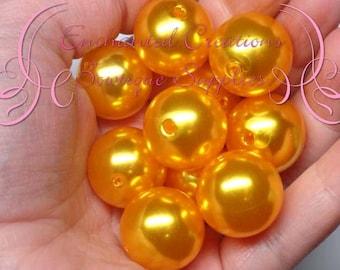 20mm Goldenrod Acrylic Pearl Beads Qty 10, Chunky Beads, Bubblegum Beads, Gumball Beads, Chunky Jewelry Beads, Acrylic Beads
