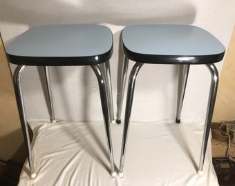 Old Metal compass foot stool + 2 x Vintage 70s blue Formica