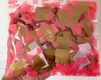 Half ounce of hand tissue paper confetti, gold, coral, light pink