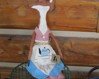 Fox Soft Sculpture Doll, Vintage Teacup Apron, Primitive, Folk, Prim, Fox Doll