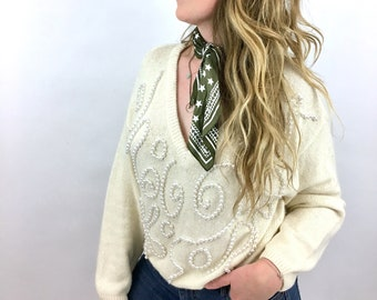 Ivory Pearl Silk/Angora/Wool V-Neck Sweater