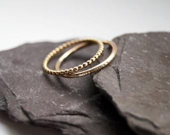 Hammered & Beaded 12K Gold Filled Stacking Rings ~ stacking ring, gold, gold filled, hammered, textured, stackable, beaded, modern, trendy