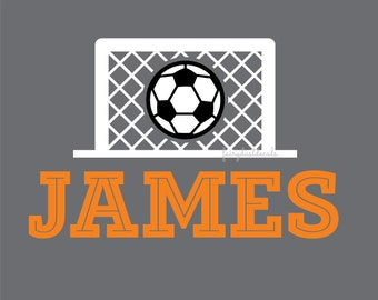 Soccer Wall Decal with personalized name - boy or girl sports theme soccer wall decoration - goal net soccer ball - vinyl name wall decal