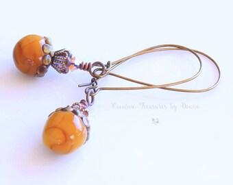 Brass Earrings Gold Acorn Earrings Gold Lampwork Beads Fall Earrings Czech Glass Baby Bell Flowers Swarovski Crystals Victorian Earrings