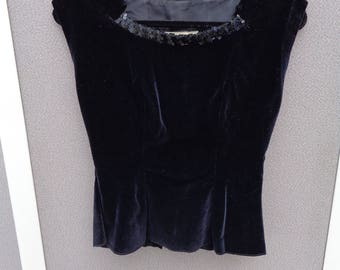 Vintage Alex Colman Black Velvet  Top