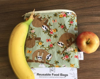 NEW Sloth Inspired Reusable Washable Lined Zippered Food Bag Sandwich Size