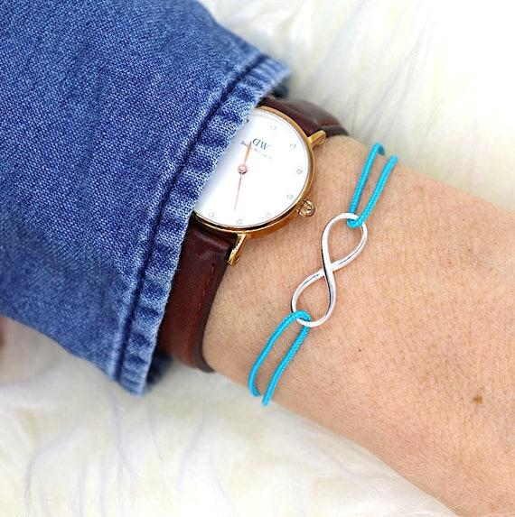 for women 925 sterling silver infinity cord bracelet