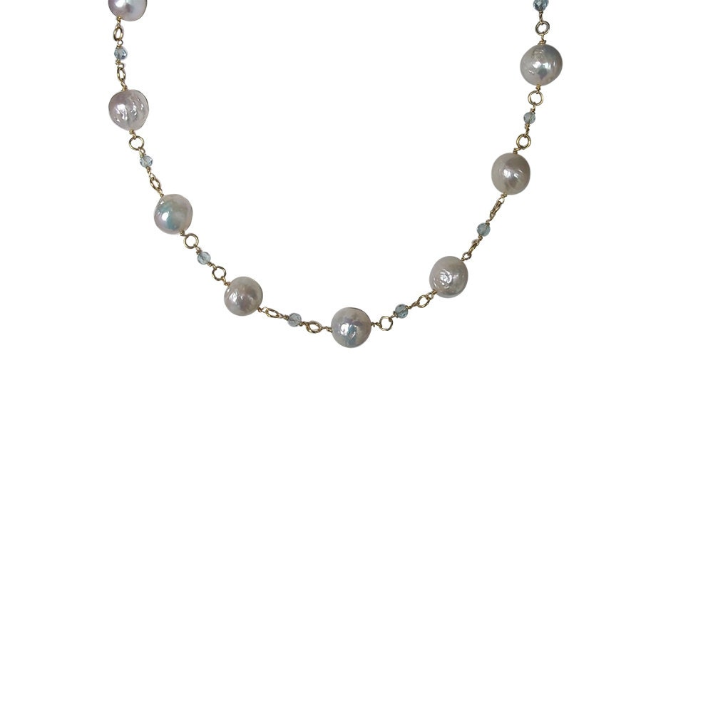 Blue Topaz And Pearl Necklace: Large Pearl & Sky Blue Topaz Necklace Edison Pearls Ideal