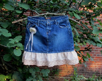 Upcycled Repurpose Blue Denim Jean Skirt 19 Inches Long Cotton Ruffle Antique Lace Tea Dyed Brand lel Adult Size 9 Removable Handmade Flower