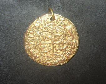 ONE Necklace Four Escudo Spanish 32MM Gold Tone  Pieces Of Eight Pirate COIN Pendant