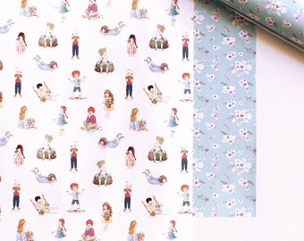 Wrapping paper set, Wrapping paper, illustrated stationery, gift wrapping, gift wrapping paper, floral wrapping paper, Wrapping paper sheets