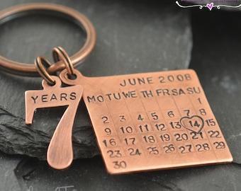 Copper gift, Personalized Copper Keychain, Copper gifts for men, Copper gifts for women, Copper anniversary, Copper, Anniversary, 7th