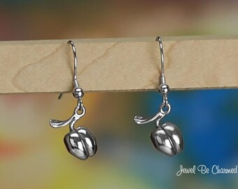 Sterling Silver Peach Earrings Fishhook Solid .925 Georgia Peaches