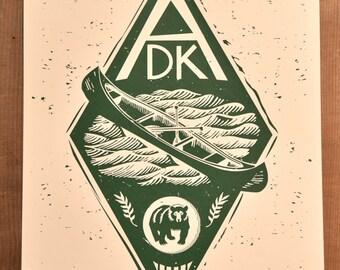 ADK // New York's Adirondack Mountains // Handmade Screen Print