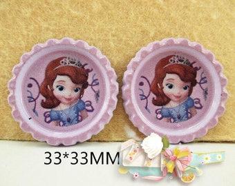 SET of 5 APPLIQUE cabochon Princess SOFIA bottle cap