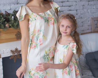 Matching Floral Nighties - Matching Mommy Baby Night Gowns - Matching Outfit, Mom & Me, Matching dresses, Mini Me, Shift dress, tunic dress