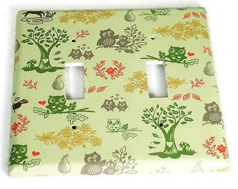 Double Light Switch Cover  Switchplate  Double Toggle Switch Plate in Woodland Friends   (143D)