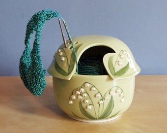 Spring Flowers collection, lily of the valley yarn bowl with lid