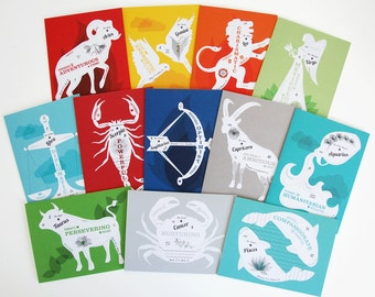 Zodiac Greeting Cards - Set of 12 Birthday Cards, Entire Zodiac Birthday Greeting Card Series