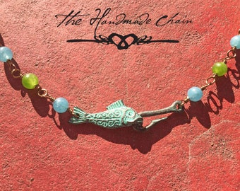 Patina Antiqued Fish Hook Necklace with HandMade Wire Chain.