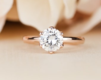 Moissanite Engagement Ring, Forever One , rose gold, Conflict Free, Diamond, Tulip Ring, Simple