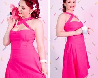 Pink fuschia retro pin up rockabilly cross halter swing dress with pockets