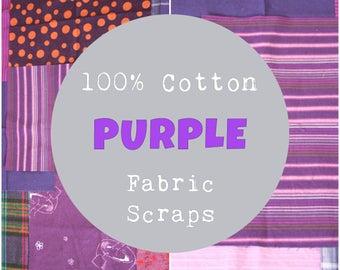 Purple Fabric Scrap Bundle, 1/2 Pound of Scraps, Purple Fabric Scraps, 100% Cotton