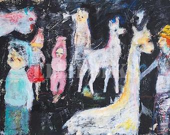 Llama Dreams - Mixed Media Art Print,  Giclée Print, 8 x 10, Ellifolks
