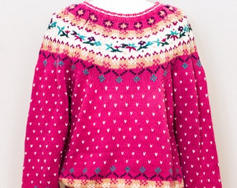 Hand embroidered cotton blend sweater