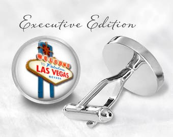 Las Vegas Cufflinks - Vegas Wedding Cufflinks - Nevada Cufflink Set (Pair) Lifetime Guarantee (S0818)