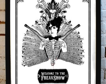 Welcome to the FreakShow - FreakShow Steampunk Illustration - limited edition poster