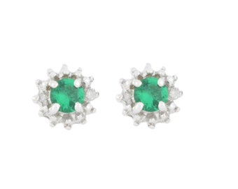 0.50 Ct Emerald & Diamond Stud Earrings .925 Sterling Silver Rhodium Finish