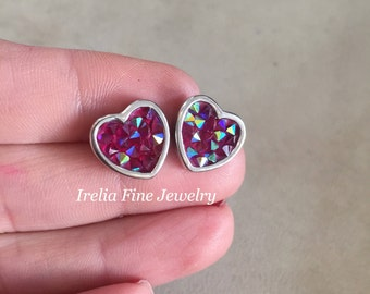 Sterling Silver Purple Crystal Heart Stud Earrings