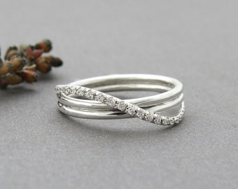 Unique Engagement Ring, Diamond Wedding Ring, Infinity Ring, White Gold Wedding Band, Pave Ring, Infinity Wedding Ring, 14k Gold Jewelry