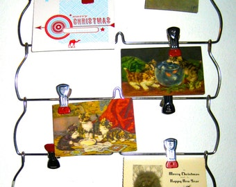 Vintage metal hanger with red cap multi clips for display art photos organizer Christmas cards