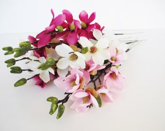 "10 Silk Magnolia Branches Artificial Flowers Magnolia Flower White Pink 17.7"" Floral DIY Wedding Hair Accessories Flower Supplies Faux Fake"