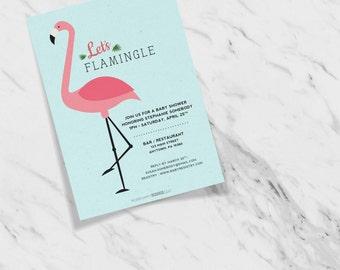 Let's Flamingle Festive Flamingo Customizable Baby Shower Invites