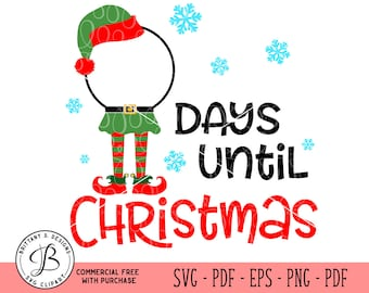 Christmas SVG, Countdown SVG, Elf SVG, Elf Countdown svg, christmas cut files, elf hat svg, svg files, svg files for cricut